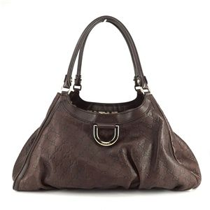 Auth Gucci Sukey Leather Bag Brown #979G16